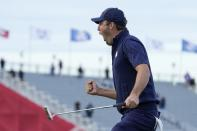 Team USA's Scottie Scheffler reacts to making his putt and winning the 15th hole during a four-ball match the Ryder Cup at the Whistling Straits Golf Course Saturday, Sept. 25, 2021, in Sheboygan, Wis. (AP Photo/Ashley Landis)