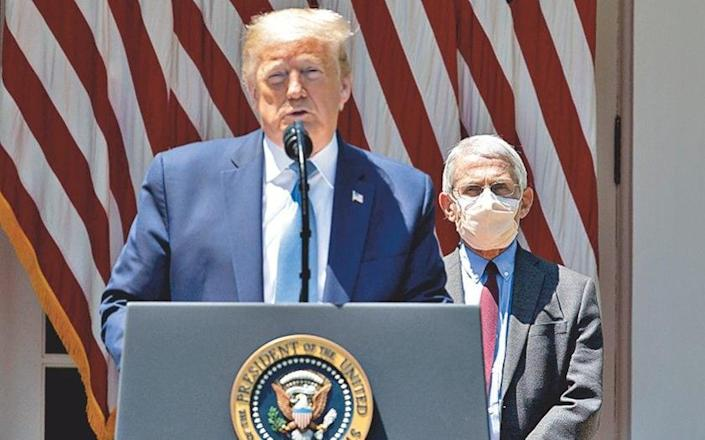 President Trump declares a national emergency due to Covid-19 on 13 March 2020, Fauci at his side - Alamy Stock Photo