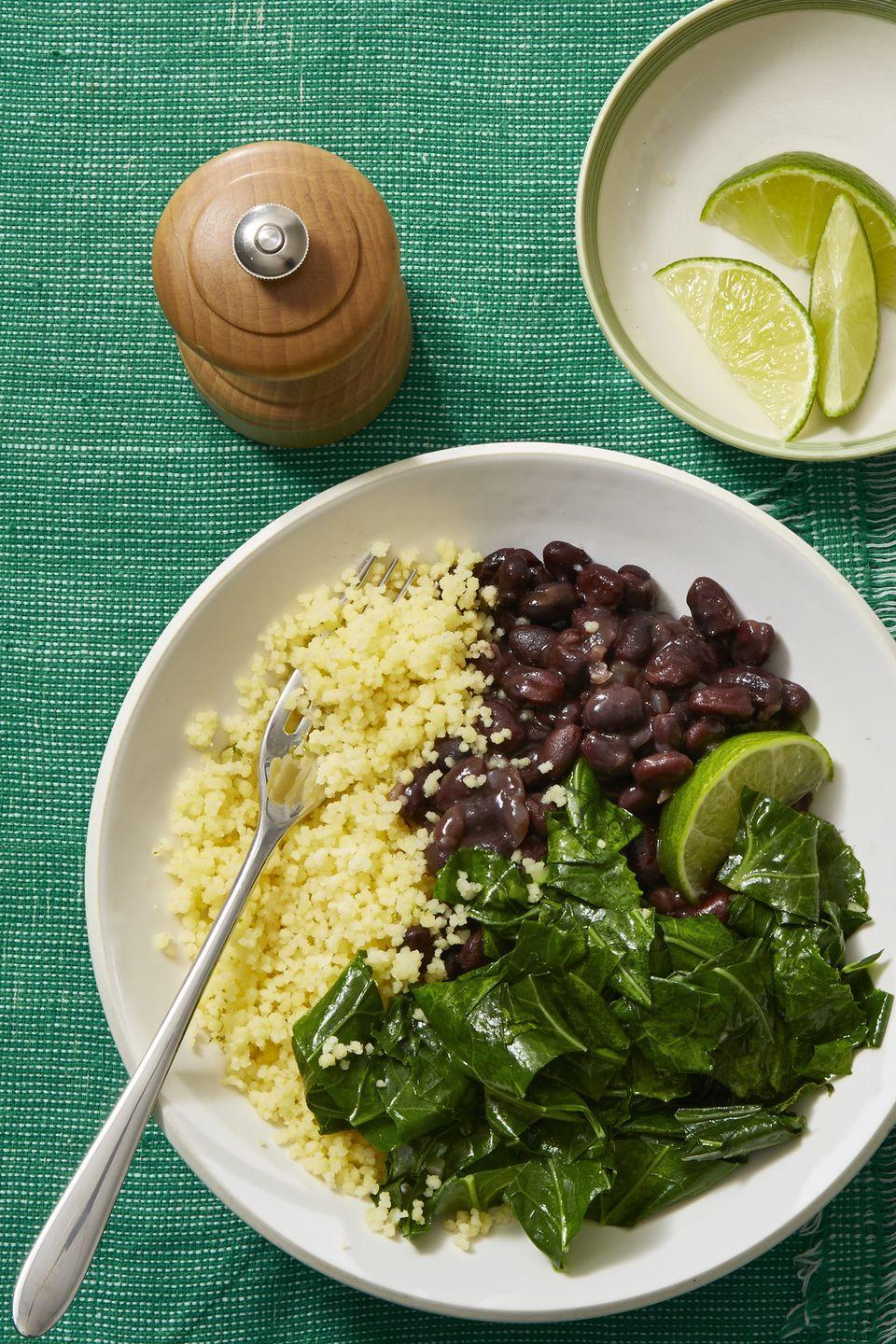 """<p>Beans and greens are the one of the tastiest ways to get your daily nutrient fix. </p><p><em><a href=""""https://www.womansday.com/food-recipes/food-drinks/recipes/a60707/stewed-black-beans-with-collared-greens-recipe/"""" rel=""""nofollow noopener"""" target=""""_blank"""" data-ylk=""""slk:Get the Stewed Black Beans and Collared Greens recipe."""" class=""""link rapid-noclick-resp"""">Get the Stewed Black Beans and Collared Greens recipe.</a></em></p>"""