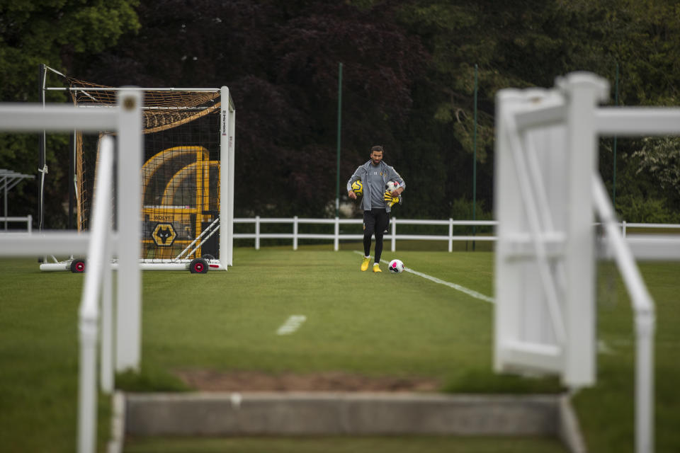 Rui Patricio of Wolverhampton Wanderers participates in an isolated fitness session during the COVID-19 lockdown at Sir Jack Hayward Training Ground on May 15, 2020 in Wolverhampton, England. (Photo by Wolverhampton Wanderers FC/WWFC via Getty Images)