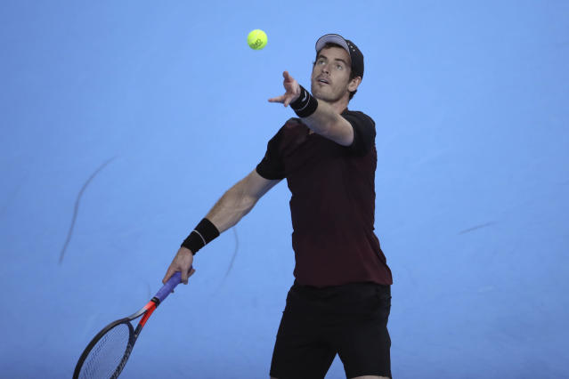Andy Murray of Britain serves to Stan Wawrinka of Switzerland during the European Open final tennis match in Antwerp, Belgium, Sunday, Oct. 20, 2019. (AP Photo/Francisco Seco)