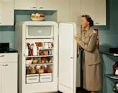 <p>Easy-to-clean glass shelves, in-door compartments, and crisper drawers were a novel design in the '50s, and would become standard.</p>