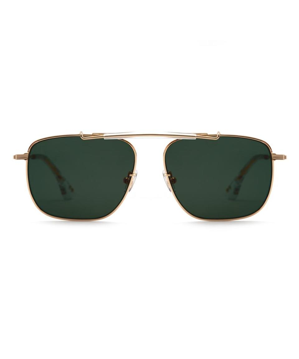 """Boost his ego some with a cool pair of nouveau aviators. He'll be reciting his favorite <em>Top Gun</em> quotes in no time. <br><br><strong>Billy Reid x Krewe</strong> Avalon, $, available at <a href=""""https://go.skimresources.com/?id=30283X879131&url=https%3A%2F%2Fwww.krewe.com%2Fproducts%2Favalon-24k-crystal"""" rel=""""nofollow noopener"""" target=""""_blank"""" data-ylk=""""slk:Krewe"""" class=""""link rapid-noclick-resp"""">Krewe</a>"""
