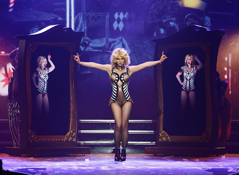 "In this photo provided by Caesars Entertainment, Britney Spears rehearses ""Britney: Piece of Me"" at Planet Hollywood Resort & Casino on Thursday, Dec. 26, 2013, in Las Vegas. Spears began her two-year Las Vegas casino residency Friday. (AP Photo/Caesars Entertainment, Denise Truscello)"