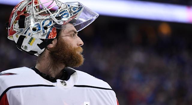"<a class=""link rapid-noclick-resp"" href=""/nhl/players/4588/"" data-ylk=""slk:Braden Holtby"">Braden Holtby</a> deserves some of the <a class=""link rapid-noclick-resp"" href=""/nhl/players/3637/"" data-ylk=""slk:Alex Ovechkin"">Alex Ovechkin</a> shine. (Getty)"