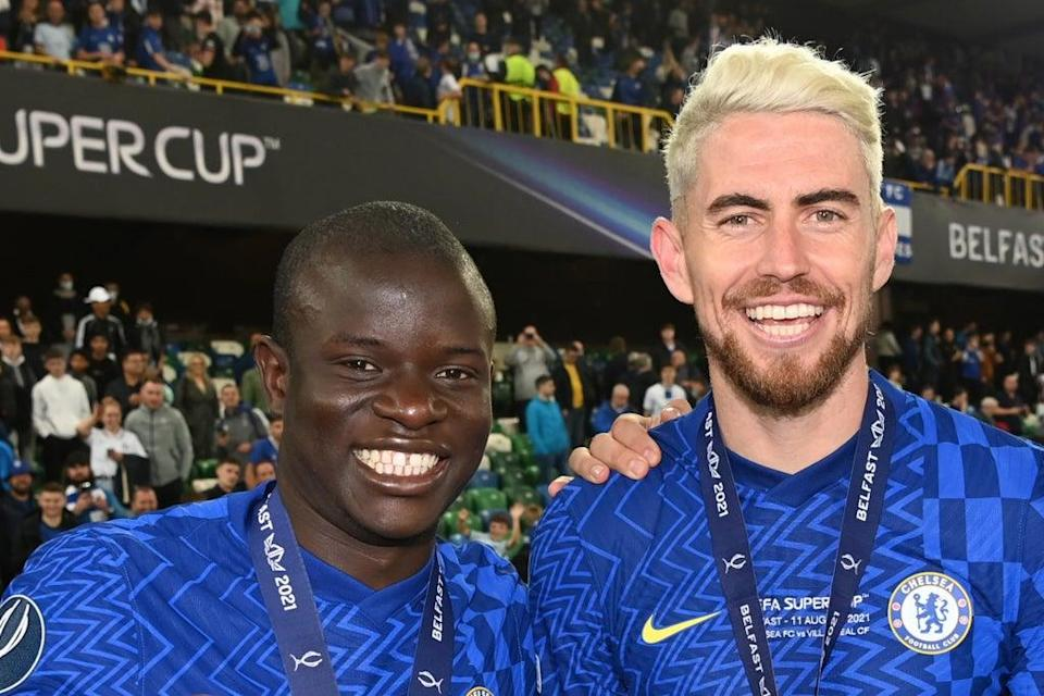 Chelsea duo N'Golo Kante and Jorginho have both been nominated for the men's  Ballon d'Or award  (Chelsea FC via Getty Images)
