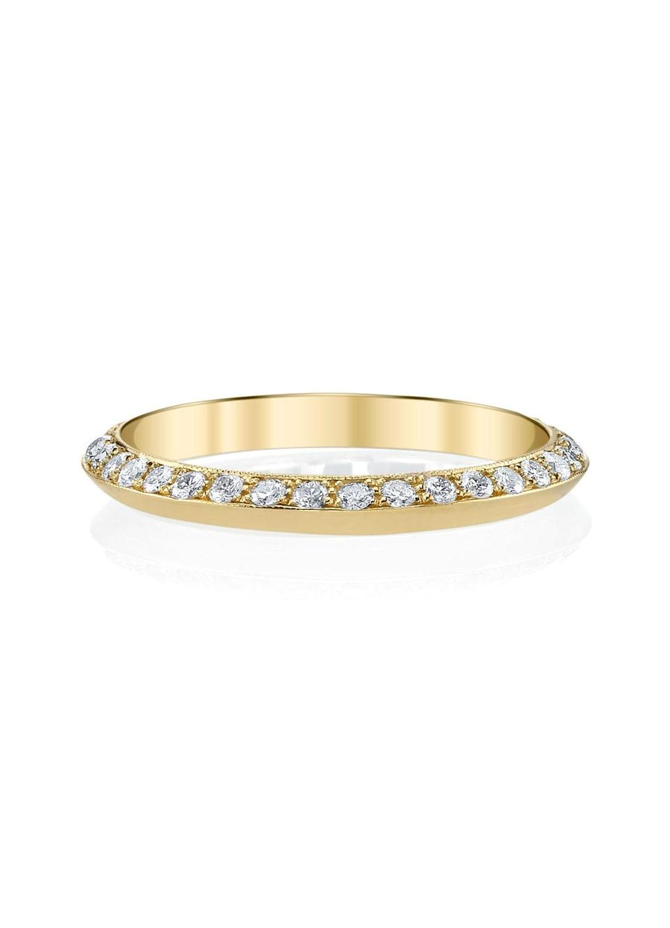 """If you still covet sparkle, Nicholson says pavé bands are great on their own or stacked with a gold band as a pared-back version on the traditional engagement-and-wedding-ring combo. $2285, Lizzie Mandler. <a href=""""https://www.lizziemandler.com/rings/one-sided-knife-edge-band-whitediamonds"""" rel=""""nofollow noopener"""" target=""""_blank"""" data-ylk=""""slk:Get it now!"""" class=""""link rapid-noclick-resp"""">Get it now!</a>"""