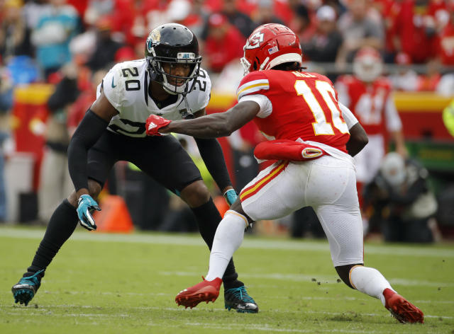 FILE - In this Sunday, Oct. 7, 2018, file photo, Jacksonville Jaguars cornerback Jalen Ramsey (20) covers Kansas City Chiefs wide receiver Tyreek Hill (10) during the second half of an NFL football game in Kansas City, Mo. In a radio interview Wednesday, New England Patriots cornerback Stephon Gilmores took a shot at the Ramsey by saying a lot of people can talk, but youve got to back it up, which he does. Sometimes. Ramsey fired back Thursday, saying we know thats furthest from the truth. Ramsey is widely considered the best cornerback in the NFL, a defender who usually plays press coverage and usually follows the opponents best receiver all over the field. (AP Photo/Charlie Riedel< File)