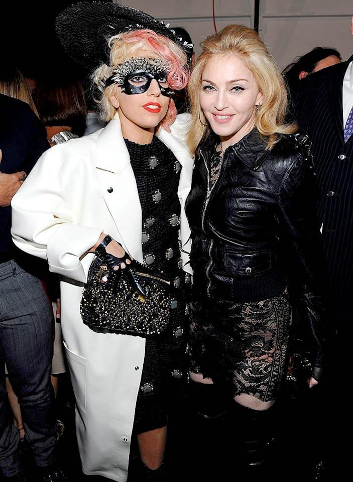 """""""Madonna is going crazy to get Lady Gaga on board for her latest world tour,"""" reports <i>News of the World</i>. According to the paper, """"Madonna is absolutely obsessed with Gaga ... and desperately wants to work with her."""" See what the Material Girl's rep says about the tour by clicking on to <a href=""""http://www.gossipcop.com/madonna-obsessed-lady-gaga-tour-work-collaborate/"""" target=""""new"""">Gossip Cop</a>. Dimitrios Kambouris/<a href=""""http://www.wireimage.com"""" target=""""new"""">WireImage.com</a> - September 14, 2009"""