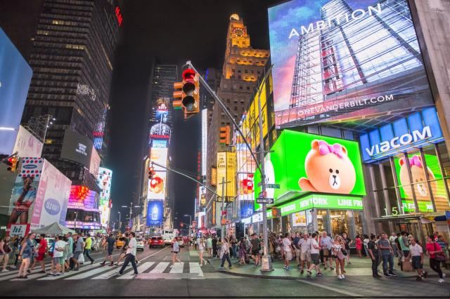 Times Square billboards illuminate the area 24 hours, seven days a week. [Photo Credit: SL Green Realty Corp.]