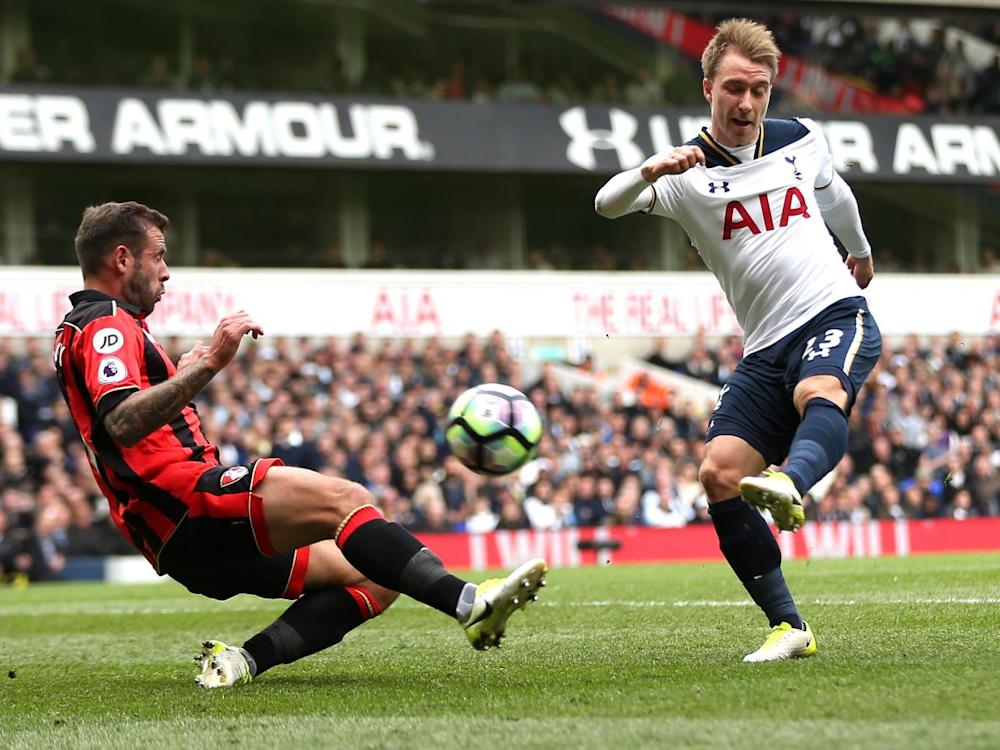 Eriksen was a goal threat throughout (Tottenham Hotspur FC via Getty)