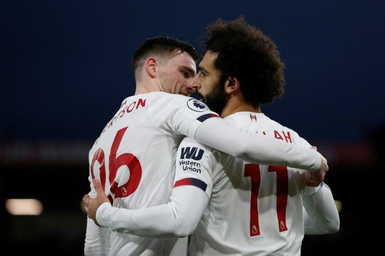 Mohamed Salah (R) scored in Liverpool's 3-0 win over Bournemouth