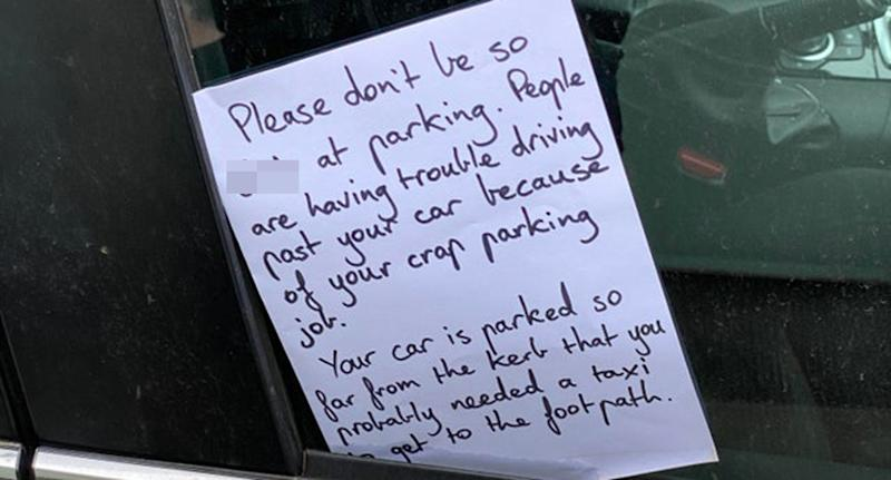 A Melbourne pedestrian shared a note stuck on a driver's door about their poor parking job.