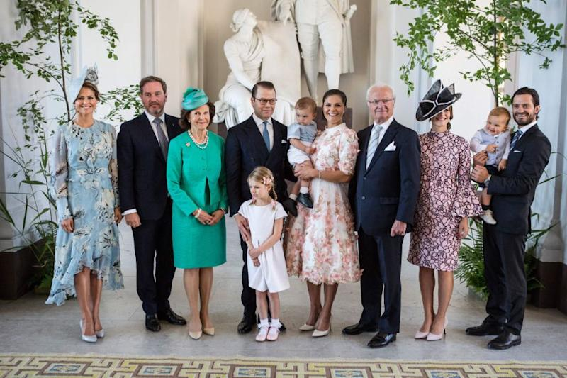 Princess Madeleine with (L-R) husband Chris, mum Queen Silvia, brother-in-law Prince Daniel, older sister Crown Princess Victoria, father King Carl Gustaf, sister-in-law Princess Sofia, older brother Prince Carl Philip. Photo: Getty