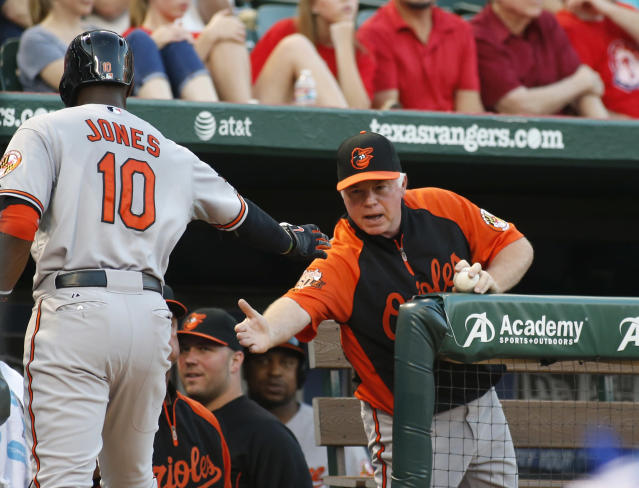 Baltimore Orioles' Adam Jones (10) is congratulated by manager Buck Showalter after hitting a home run in the fourth inning of a baseball game against the Texas Rangers on Tuesday, June 3, 2014, in Arlington, Texas. (AP Photo/Sharon Ellman)