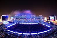 <p>TAMPA, FLORIDA - FEBRUARY 07: A view of the stadium as The Weeknd performs during the Pepsi Super Bowl LV Halftime Show at Raymond James Stadium on February 07, 2021 in Tampa, Florida. (Photo by Mike Ehrmann/Getty Images)</p>
