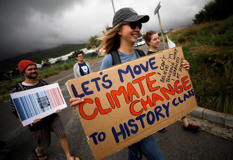 Young activists march as part of the Global Climate Strike of the movement Fridays for Future, in Cape Town, South Africa September 20, 2019. (Photo: Mike Hutchings/Reuters)