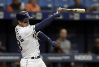 Tampa Bay Rays' Daniel Robertson loses his bat as he swings at a pitch from Baltimore Orioles starting pitcher Ty Blach during the third inning of the first baseball game of a doubleheader Tuesday, Sept. 3, 2019, in St. Petersburg, Fla. (AP Photo/Chris O'Meara)