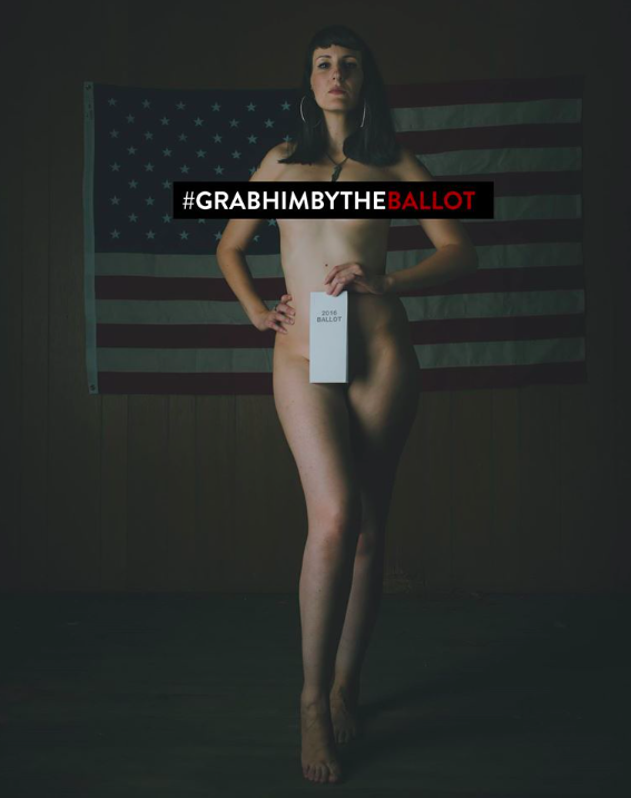The woman pose naked with strategically placed faux ballot sheets [Photos: Facebook / Anja Schutz Photography]