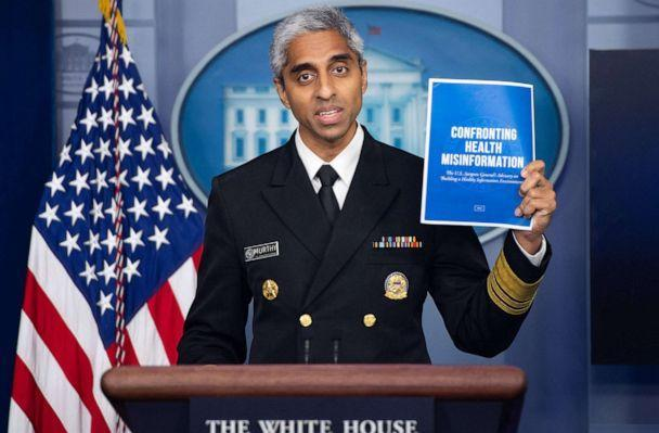 PHOTO: Surgeon General Dr. Vivek H. Murthy speaks during a press briefing in the Brady Briefing Room of the White House, July 15, 2021.   (Saul Loeb/AFP via Getty Images)