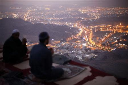File photo of Muslim pilgrims praying atop Mount Thor in the holy city of Mecca