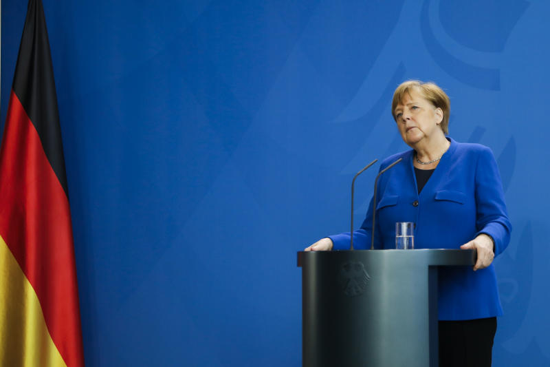 German Chancellor Angela Merkel brief the media about measures to avoid further spread of the coronavirus and the COVID -19 disease after a government meeting at the chancellery in Berlin, Germany, Monday, April 20, 2020. (AP Photo/Markus Schreiber, Pool)