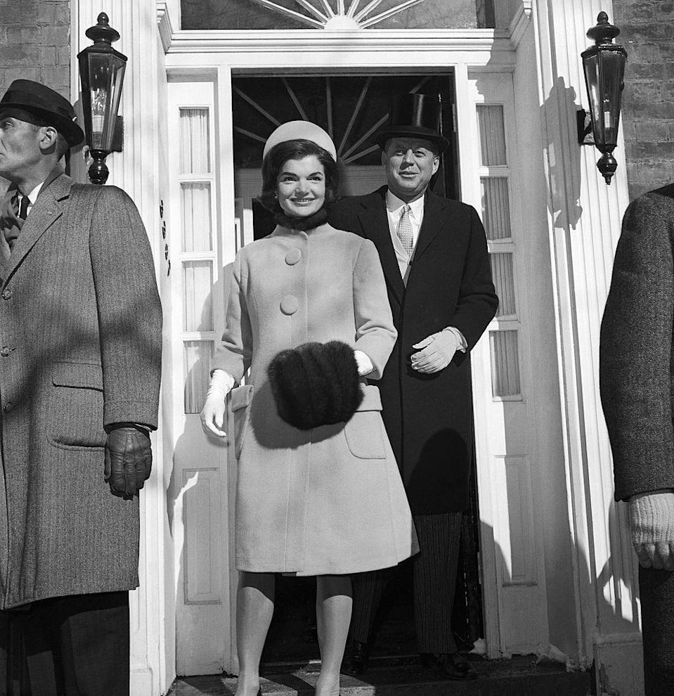 <p>Because Jackie had to wear clothing by American fashion designers while she was First Lady, she formed a close bond with the designer. Cassini crafted many of Jackie's iconic skirt suits and dresses—as well as this shearling number she wore to JFK's inauguration—that were inspired by European trends.</p>