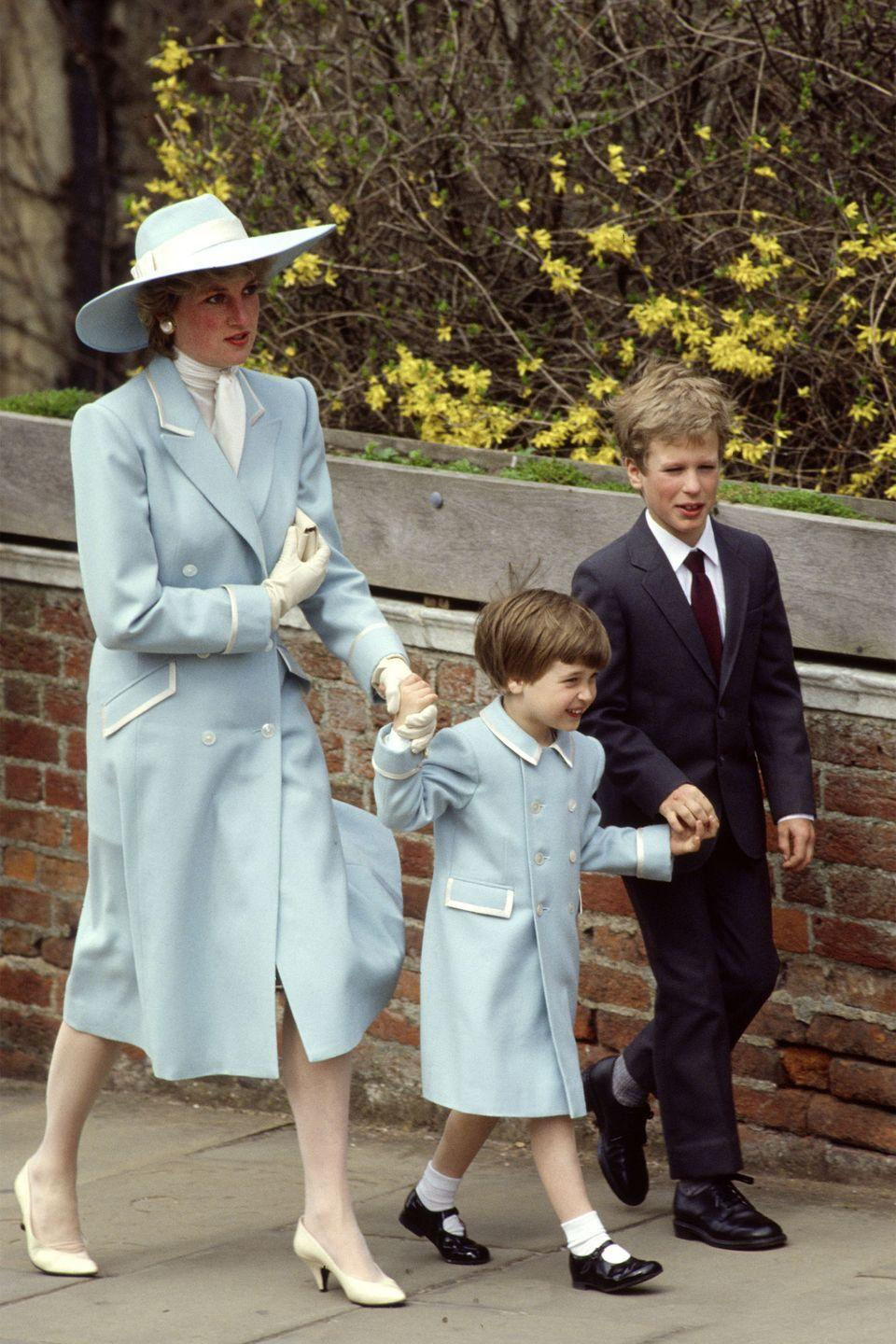 <p>Matching with Prince William in a pale blue coat by Catherine Walker while going to Easter church service.</p>