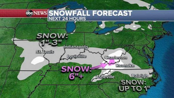 PHOTO: The snowfall totals include a general area of 1 to 3 inches of snow  forecast from Missouri to Virginia and North Carolina, but in the southern Appalachians up to a half a foot of snow could accumulate.  (ABC News)