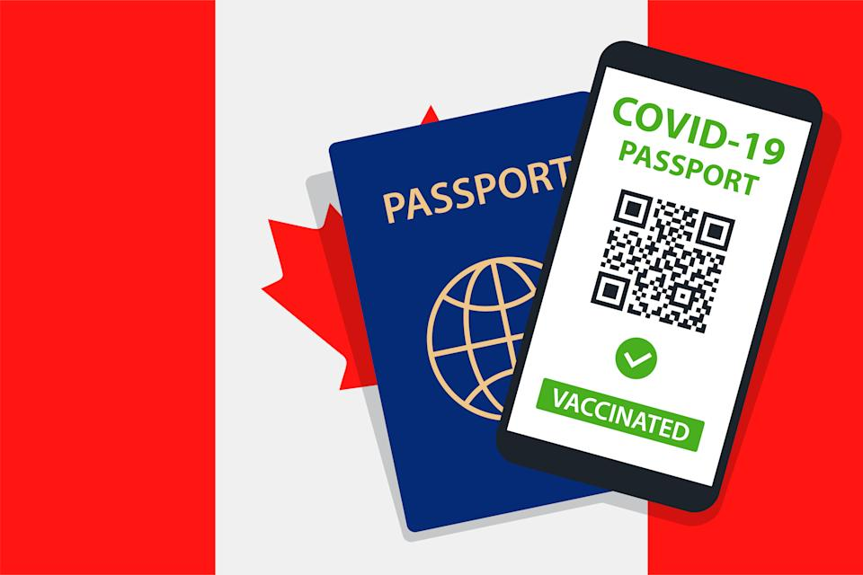 Covid-19 Passport on Canada Flag Background. Vaccinated. QR Code. Smartphone. Immune Health Cerificate. Vaccination Document. Vector illustration