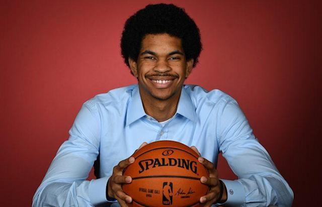 "<a class=""link rapid-noclick-resp"" href=""/ncaab/players/137197/"" data-ylk=""slk:Jarrett Allen"">Jarrett Allen</a> has the best mustache in the draft. (Getty Images)"