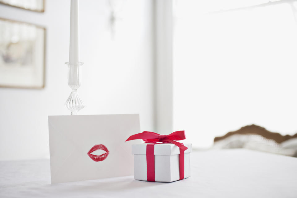 Valentine's Day box and card with a kiss mark.