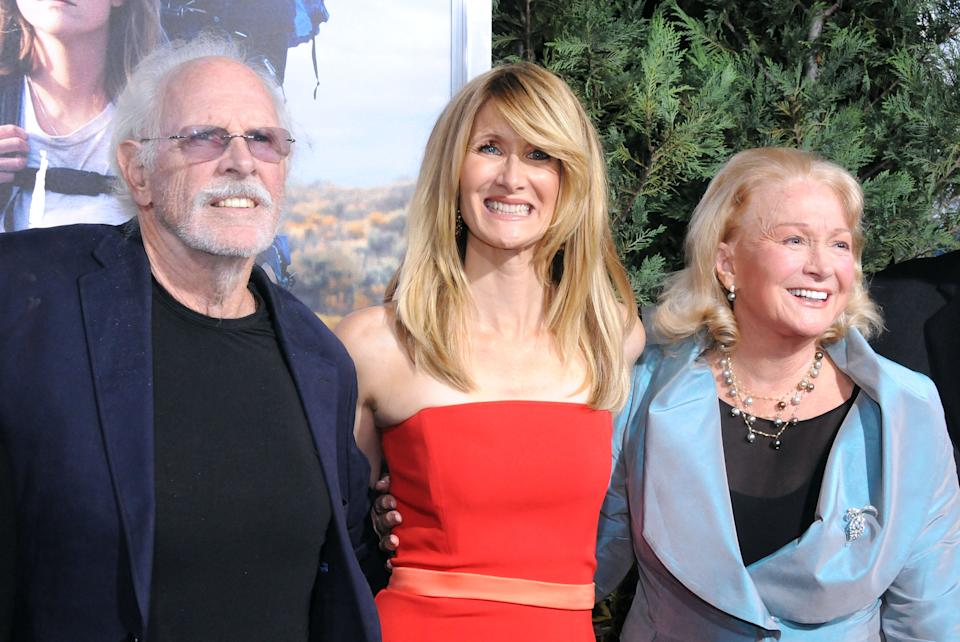 Bruce Dern, Laura Dern and Diane Ladd arrive at the Los Angeles Premiere 'Wild' at AMPAS Goldwyn Theater on November 19, 2014. (Photo by Barry King/FilmMagic)