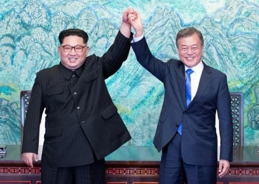 Relations have cooled since Kim Jong Un (L) and South Korea's President Moon Jae-in held their first meeting
