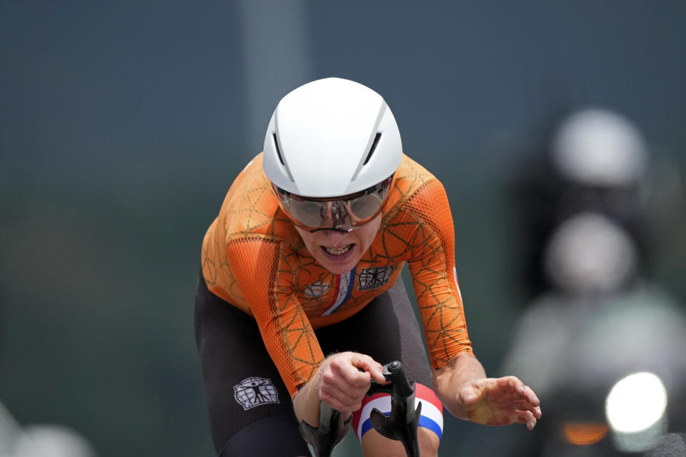 Annemiek van Vleuten of The Netherlands competes during the women's cycling individual time trial at the 2020 Summer Olympics, Wednesday, July 28, 2021, in Oyama, Japan. (AP Photo/Christophe Ena)