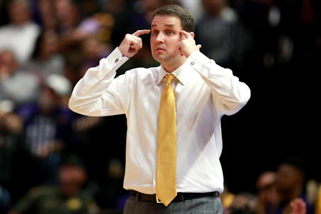 Will Wade sat out of the postseason but remains head coach of LSU. (Getty Images)