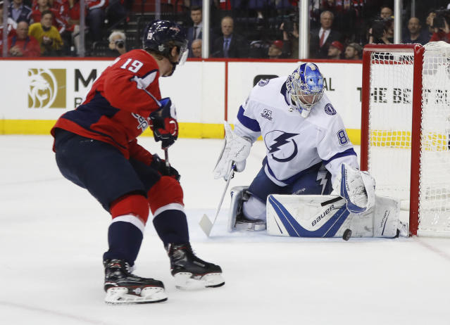 Tampa Bay Lightning goaltender Andrei Vasilevskiy (88) stops a shot by Washington Capitals center Nicklas Backstrom (19) during the second period of Game 4 of the NHL hockey Eastern Conference finals Thursday, May 17, 2018, in Washington. (AP Photo/Pablo Martinez Monsivais)