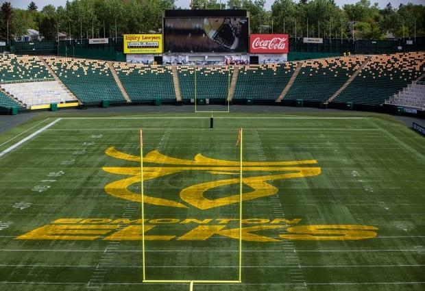 Edmonton's CFL team unveils their new name and logo, the Edmonton Elks, at Commonwealth Stadium in Edmonton, on Tuesday, June 1, 2021.  (Jason Franson/The Canadian Press - image credit)