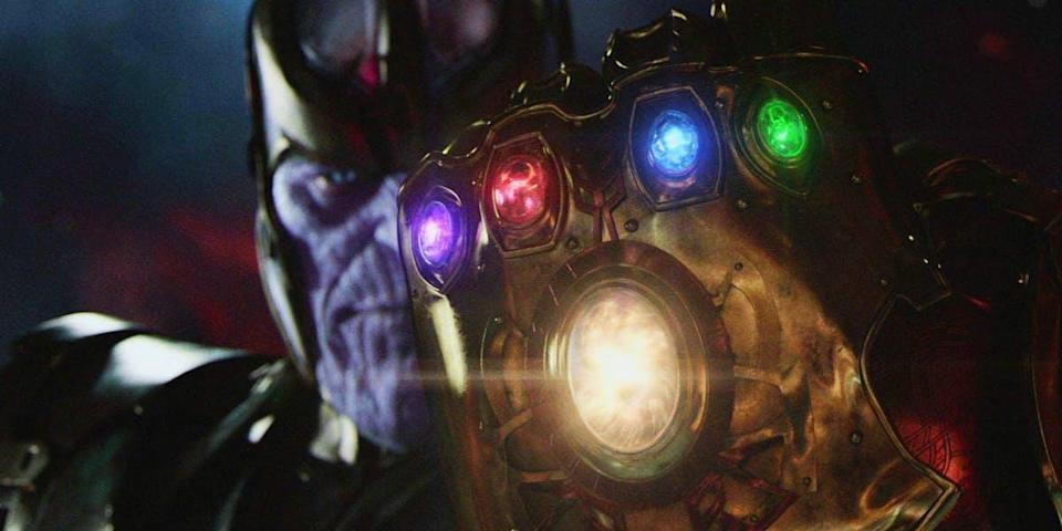 Thanos wields a fully loaded Infinity Gauntlet in a teaser for <i>Avengers: Infinity War</i>. (Photo: Marvel Studios)
