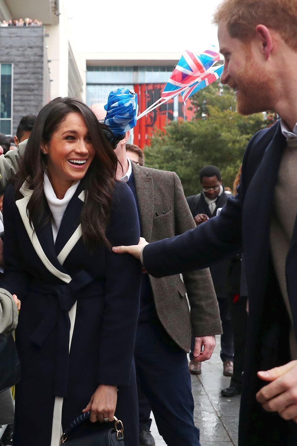 """<p>Always giggling, an up-close photographer captured this sweet shot of Prince Harry and Meghan Markle laughing at each other during a visit to Birmingham, England, on <a href=""""https://www.harpersbazaar.com/celebrity/latest/a19174954/meghan-markle-prince-harry-birmingham-visit/"""" rel=""""nofollow noopener"""" target=""""_blank"""" data-ylk=""""slk:International Women's Day"""" class=""""link rapid-noclick-resp"""">International Women's Day</a>. </p>"""