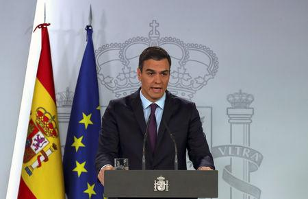 FILE PHOTO: Spain's Prime Minister Pedro Sanchez delivers a statement on the political crisis in Venezuela at the Moncloa Palace in Madrid