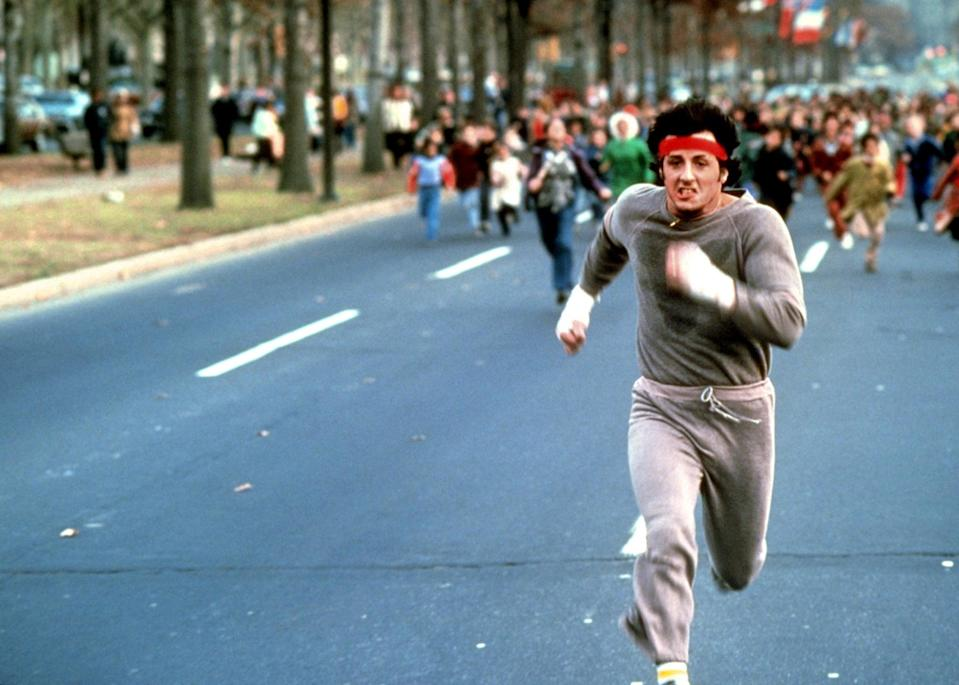 <p>Sylvester Stallone running in his sweats, red headband, and gold chain has become an iconic image from the 1979 film. Rocky's sweats continue to make appearances throughout the other Rocky films, but this is by far the best combination.</p>