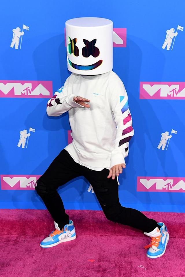 <p>Marshmello attends the 2018 MTV Video Music Awards at Radio City Music Hall on August 20, 2018 in New York City. (Photo: Nicholas Hunt/Getty Images for MTV) </p>