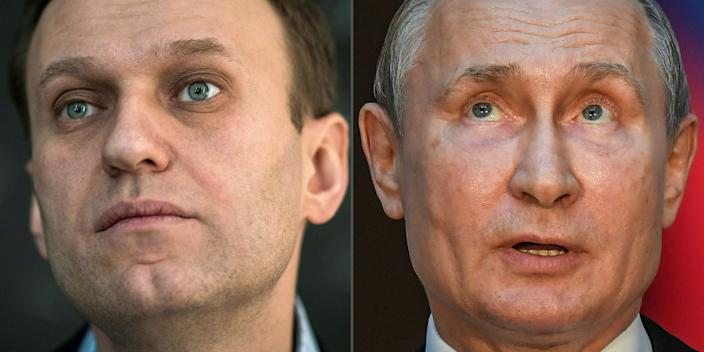 "(COMBO) This combination of pictures created on October 1, 2020 shows Russian opposition leader Alexei Navalny (L, on January 16, 2018 in Moscow) and Russian President Vladimir Putin (on July 4, 2019 in Rome). - Russian opposition leader Alexei Navalny has accused President Vladimir Putin of being behind his poisoning, in his first interview published since he left the German hospital where he was treated. ""I assert that Putin is behind this act, I don't see any other explanation,"" he told the German weekly Der Spiegel, which published extracts from the interview on its website Thursday, October 1, 2020. (Photos by Mladen ANTONOV and Tiziana FABI / AFP) (Photo by MLADEN ANTONOV,TIZIANA FABI/AFP via Getty Images)"
