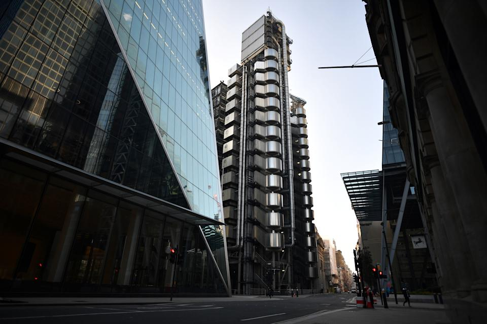 The Lloyd's building, housing Lloyd's of London is seen on a near-deserted Leadenhall Street in the City of London. Photo: Ben Stansall/AFP via Getty Images