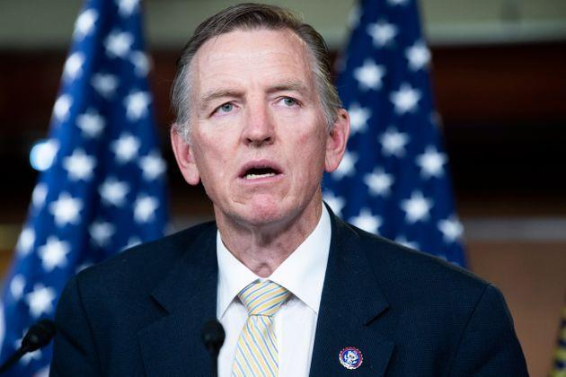 Rep. Paul Gosar conducts a news conference in the Capitol Visitor Center on the Fire Fauci Act, which aims to strip the salary of Dr. Anthony Fauci, director of the National Institute of Allergy and Infectious Diseases, for his handling of COVID-19. (Photo: Tom Williams via Getty Images)