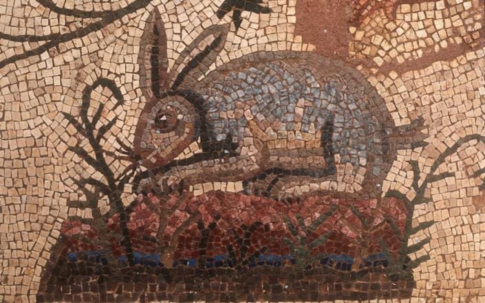 Chewing it over: a Roman mosaic of a grazing rabbit in the House of Dionysus in, Paphos, Cyprus - Bridgeman Images