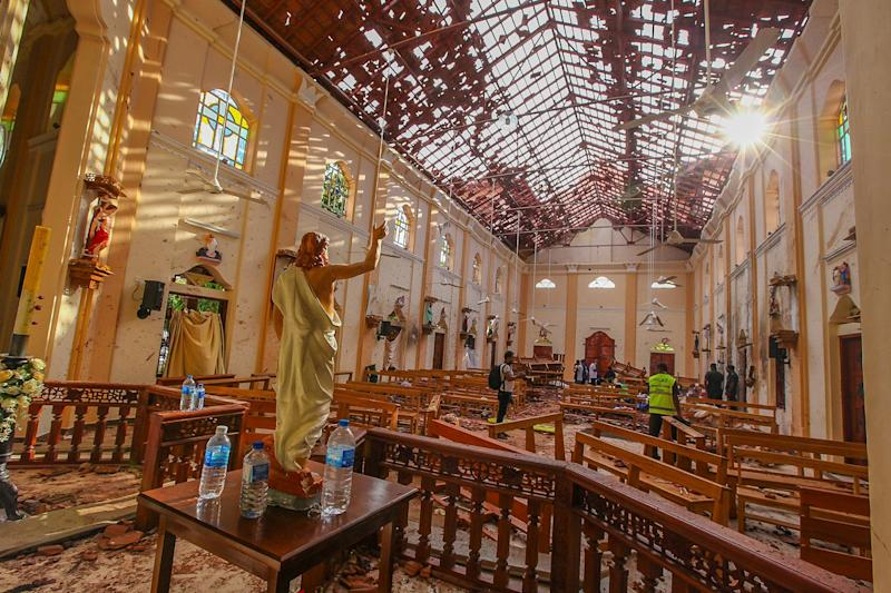 St Sebastian's Church damaged in blast in Negombo (AP)