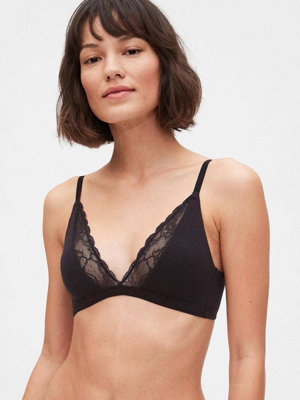<p>Black lace is always sultry, and we love this <span>Gap Breathe Lace Plunge Bralette</span> ($26, originally $30) adding some spice to an everyday bralette. </p>