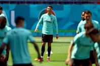 Ronaldo at a training session in Budapest on Friday